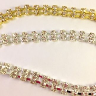2 Row Crystal Chain - GOLD OR SILVER-0