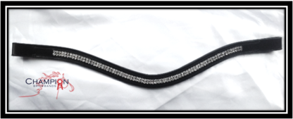 Leather Crystal Wave browband - COB-0