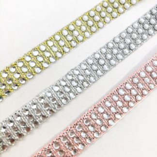 3 row diamante ribbon